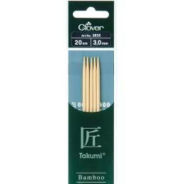 Aiguille tricot 2 pt bambou 20cm 3.00mm - 256