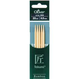 Aiguille tricot 2 pt bambou 20cm 4.00mm - 256