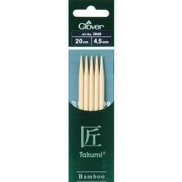 Aiguille tricot 2 pt bambou 20cm 4.50mm - 256