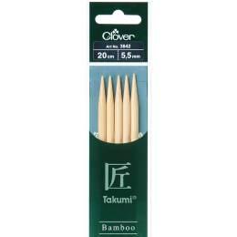 Aiguille tricot 2 pt bambou 20cm 5.50mm - 256