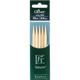 Aiguille tricot 2 pt bambou 20cm 6.00mm - 256