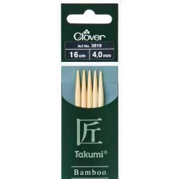 Aiguille tricot 2 pt bambou 16cm 4.00mm - 256
