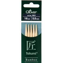 Aiguille tricot 2 pt bambou 16cm 5.00mm - 256