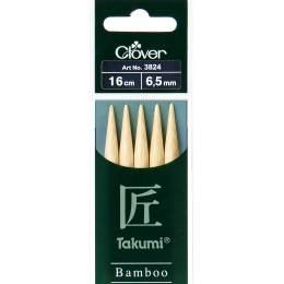 Aiguille tricot 2 pt bambou 16cm 6.50mm - 256