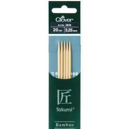 Aiguille tricot 2 pt bambou 20cm 3.25mm - 256