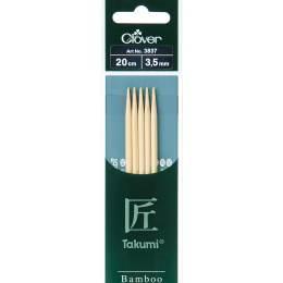 Aiguille tricot 2 pt bambou 20cm 3.50mm - 256