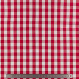 Tissu vichy popeline coton 10/10mm rouge - 283