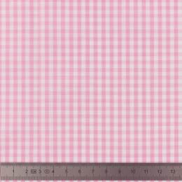 Tissu vichy popeline coton 3/3mm rose - 283