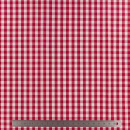 Tissu vichy popeline coton 6/6mm rouge - 283