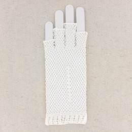 Mitaine crochet coton blanc - 307