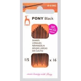 """Aiguille longue """"Pony black"""" n°1/5 X16 - 346"""
