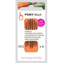 """Aig tapisserie pointe """"pony black"""" n°18/22 X6 - 346"""