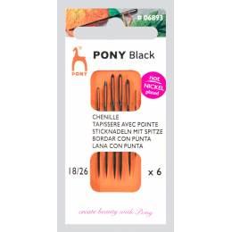 """Aig tapisserie pointe """"pony black"""" n°18/26 X6 - 346"""