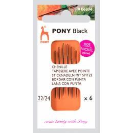 """Aig tapisserie pointe """"pony black"""" n°22/24 X6 - 346"""