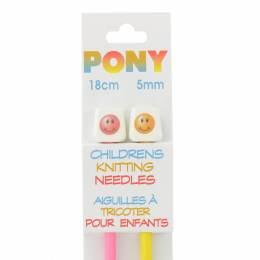 Aiguille tricot enfant 18 cm 5mm smiley - 346