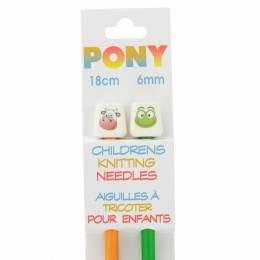 Aiguille tricot enfant 18 cm 6 mm animaux - 346