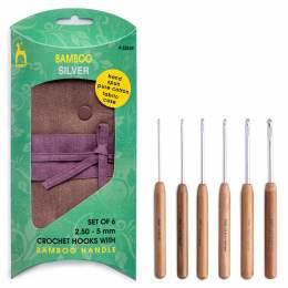 Pochette tissu + 6 crochets argent manche bamboo - 346