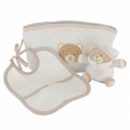 Trousse cadeau beige : doudou ours et bavoir - 367
