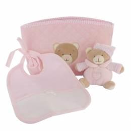 Trousse cadeau rose : doudou ours et bavoir - 367
