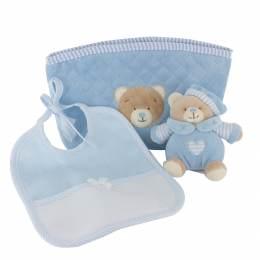 Trousse cadeau bleu : doudou ours et bavoir - 367