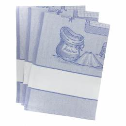 Torchon à broder 3 bleu 81x58cm - 367