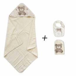 Set cape de bain, gant, bavoir ours beige/écru - 367