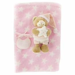 Ours (20 cm) + couverture rose - 367