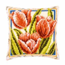 Kit coussin au point de croix tulipes - 4