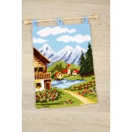 Kit tapis mural au point de croix ville montagne - 4