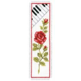 Broderie au pt compté blanc rose avec clavier - 4