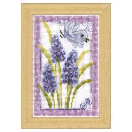 Miniature bleu sur bleu oiseau & fleurs aida - 4
