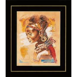 Kit pt compté femme africaine / fond imprimé - 4