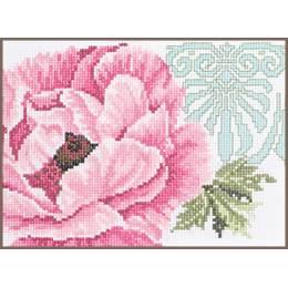Kit au point compté fleur rose avec ornament - 4