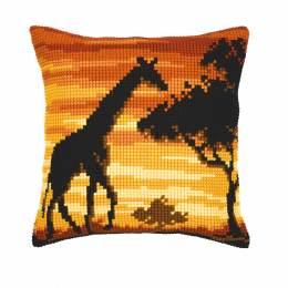 Coussin au point de croix girafe - 4