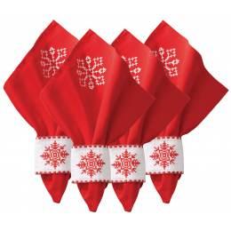 Kit anneaux de serviette + serviettes noël lot de4 - 4