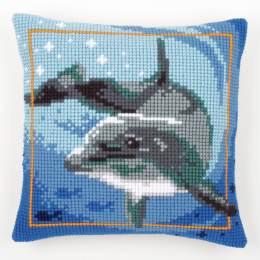 Coussin point de croix dauphin - 4