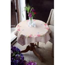 Nappe ficelle fleurs roses avec papillons - 4