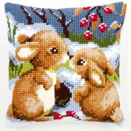 Coussin point de croix lapins dans la neige - 4