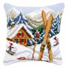 Coussin au point de croix plaisirs de la neige - 4