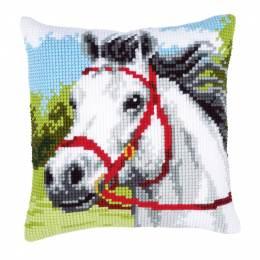Coussin point de croix cheval blanc - 4