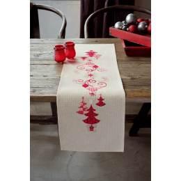Chemin de table décorations de noël rouges - 4