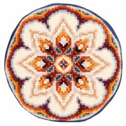 Kit coussin rond au point de croix jeans fleur  - 4