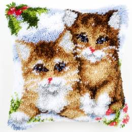 Coussin point noué 40x40cm chats - 4
