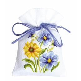 Kit sachet fleurs bleues/jaunes - 4