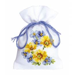 Sachet fleurs bleues/jaunes aida - 4