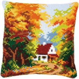 Kit coussin au point de croix maison dans la forêt - 4