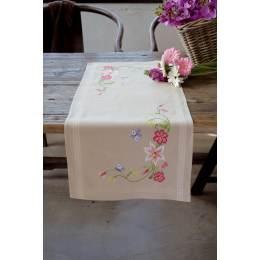 Chemin de table ficelle fleurs roses avec papillon - 4