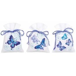 Sachets papillons bleus aida lot de 3 - 4