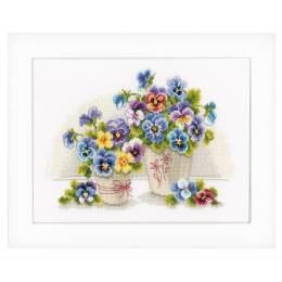 Kit au point compté vases avec violettes aida - 4