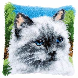 Coussin point noué chat gris 40x40cm - 4